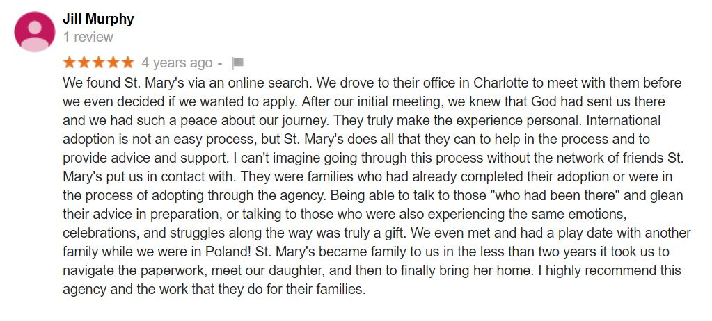 Saint Mary Adoptions gets a 5 star review