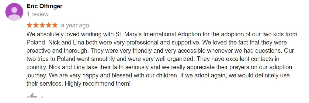 International Adoption agency gets a 5 star review.