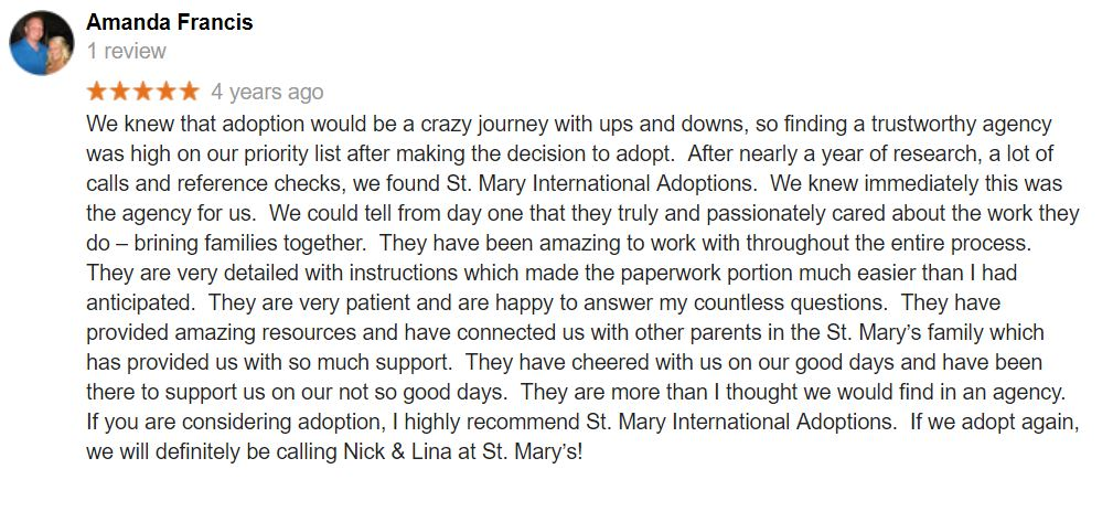 St. Mary Adoptions gets an excellent review from its clients.