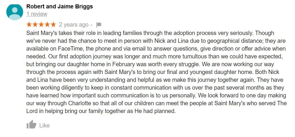 St. Mary Adoptions gets incredible review on Google.