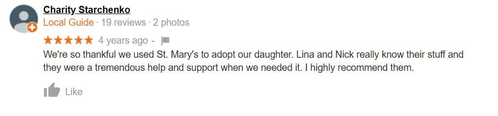 St. Mary Adoptions gets a wonderful review from a local guide.