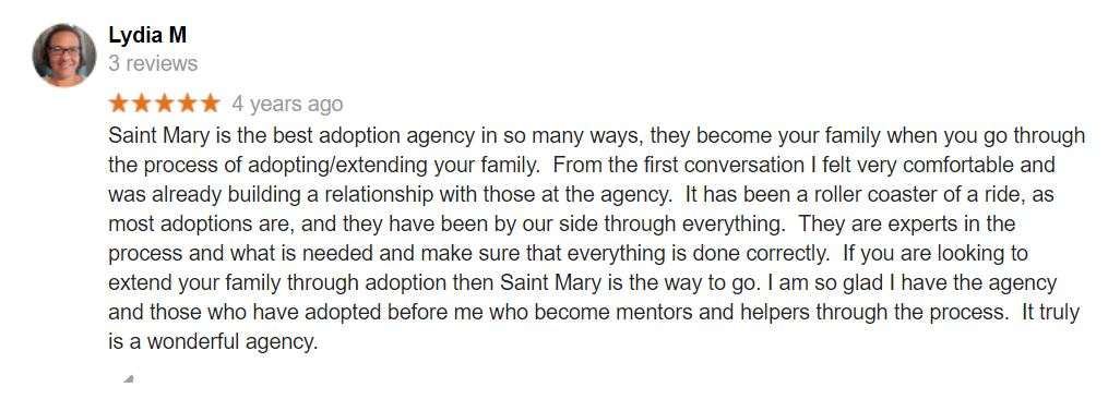 Client leaves adoption agency a 5 Star rating!