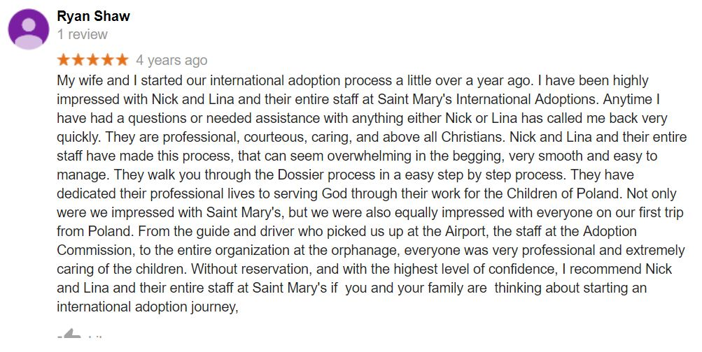 Saint Mary Adoptions gets an excellent review on Google.