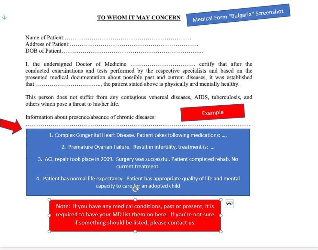 Medical Form for International Adoption.