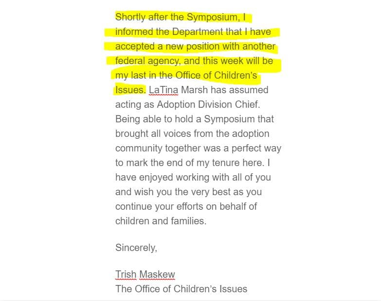 Trish Maskew Out from Office of Children's Issues