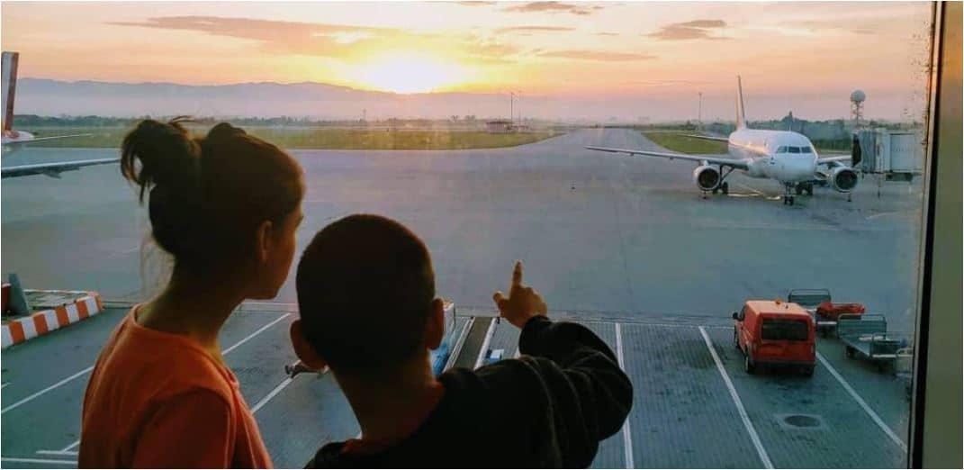 Adopted children leaving Bulgaria.