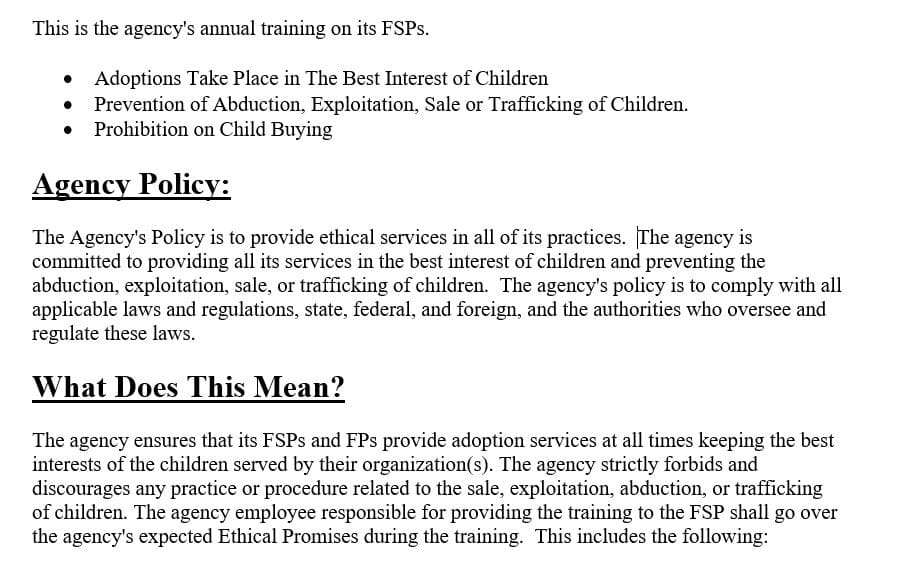 Ethical Practices Training for Adoption Providers