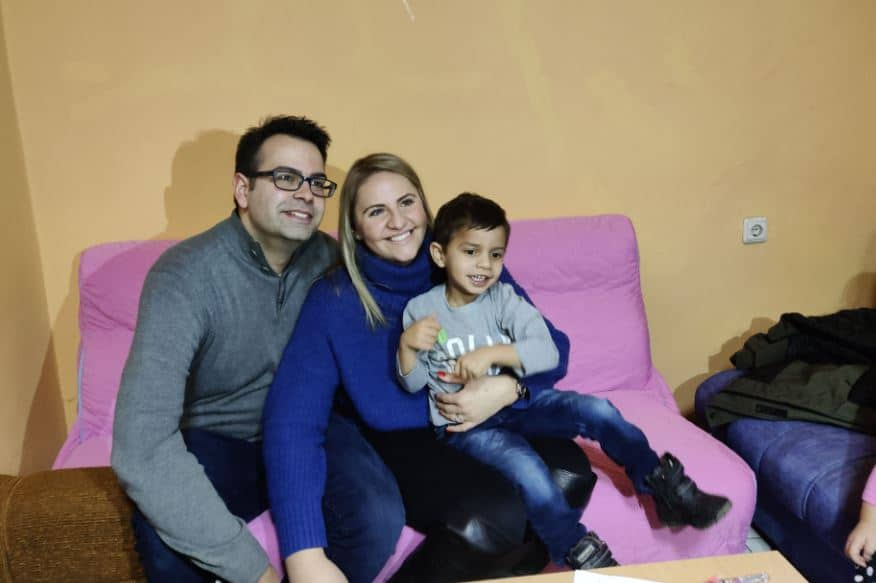 Adoptive parents and their son in Bulgaria.