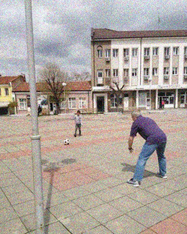 Adoptive son and his dad playing futbol!