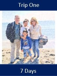 Mom, dad, daughter and son spending the day at the beach.